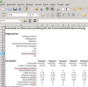 Schornsteinhöhenberechnung Dateneingabe